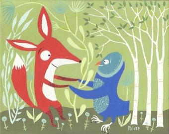 Fox and Owl Print - Whimsical Woodland Folk Art - Outsider Folk Dance Artwork