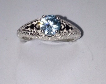 Blue Zircon and silver ring