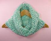 COWL SCARF Infinity Seafoam Aqua Teal Turquoise White Neck Warmer Crochet Womens Girls Soft Homespun