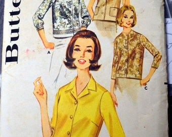 Vintage 1960's Sewing Pattern Butterick 2683 Misses' Blouse Bust 31 Inches Partially Cut COMPLETE