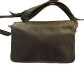 Vintage Enny leather Handbag, navy blue nappa leather, crossbody purse, Italian Designer