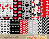 Valentine Digital Papers - Red, Black, Grey, Heart - Happy Valentine D 10089