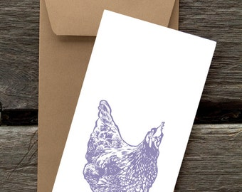 Purple Hen  - 8 Blank flat notecards and envelopes
