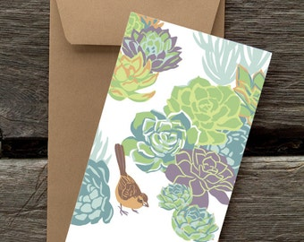 Towhee and Succulents -- 8 Blank flat cards and envelopes