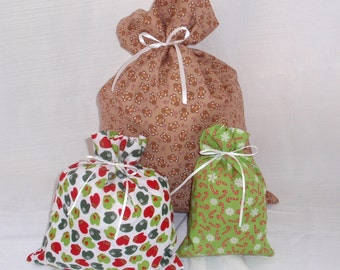 Christmas Gift Bags - 3 Gingerbread Mitten Candy Cane -  Reusable Eco-Friendly Cotton Fabric