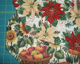 Table Runner Fall Floral Pumpkin / Christmas Poinsettia Reversible