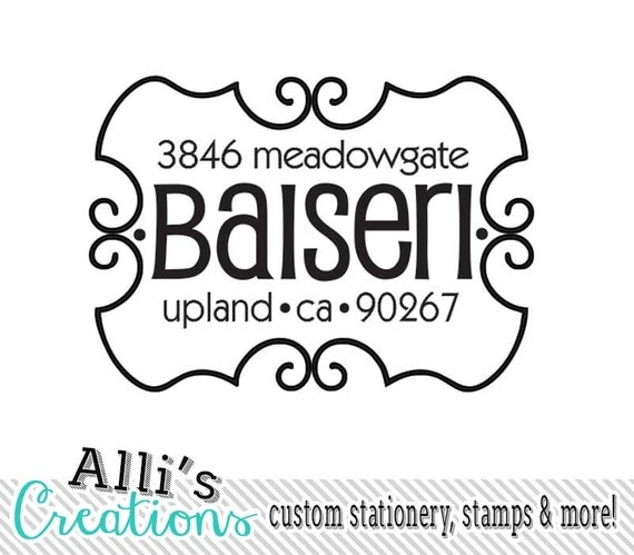 Custom Swirly Border Address Stamp Round Family Name Stamp Self Inking