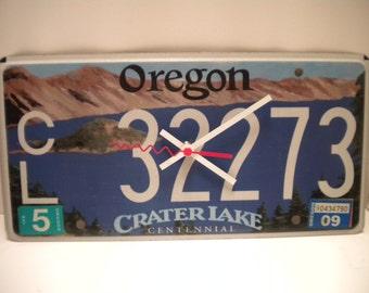 Oregon Crater Lake License Plate Clock