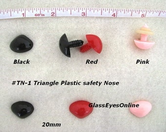18 pc. 18mm or 20mm Triangle Plastic Safety Noses, Buttons, Eyes for puppets, teddy bears, dolls, sewing, crochet projects ( TN-1 )