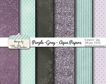 Purple Gray and Aqua Digital Paper Backgrounds Pack - 12x12  - INSTANT DOWNLOAD
