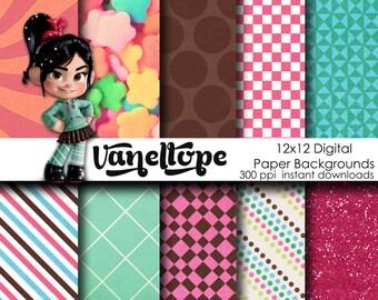 Disney Vanellope Inspired 12x12 Digital Paper Backgrounds for Digital Scrapbooking, Party Supplies, etc -INSTANT DOWNLOAD Wreck it Ralph