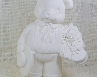 Valentine Bear |  Bear Statue | Animal Figurine | Animal Statue | Ceramic Bisque | Unpainted Ceramics | Bisqueware | Ceramics to Paint