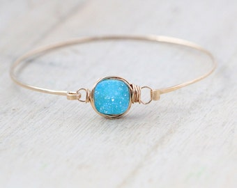 Druzy Stacking Bracelet, Blue Aqua Square Quartz Gemstone Bangle , Gold , Rose , Sterling Silver , Dainty Modern