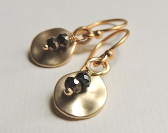 Hammered Gold Drop Earrings with Pyrite