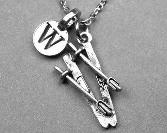 Skis Necklace, Silver plated Skis, initial Necklace, Personalized Jewelry, Skier gift, monogram letter, skiing charm, skiing gift, ski charm
