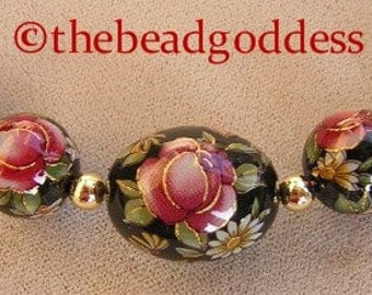 5 GRADUATED Japanese TENSHA BEADS Red Rose Black 10, 12, and 14x17mm