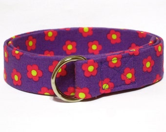 Purple D-Ring Belt SALE  Girls Ribbon Belt / Flowered Fabric Belt / D-ring Belt 1 inch - Pressed Flowers in Purple Girls Gift Guide