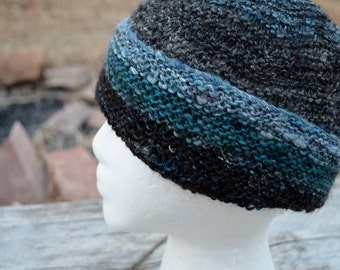 Black Sheep Hat. Hand Knit from a Blend of Shetland and Merino Wool, Plus Bamboo. Black and Blue. For Men, Women, Anyone. It Is a Nice Hat.