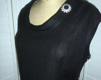 Vintage XL  Dress 1960s Little Black Dress by Bleeker Street 42 B 38 W Free U S Shipping