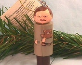 """Theodore """"TEDDY"""" Roosevelt Ornament, hand painted on wood  in USA"""