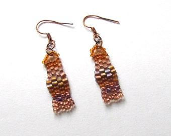 Copper Freeform Earrings  - Copper Beaded Earrings - Freeform Peyote Earrings