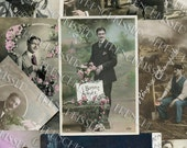 10 Antique French Postcards of Edwardian Men with Fun Script and Messages