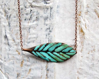 simple Leaf necklace copper necklace turquoise Feather rustic patina Bohemian jewelry