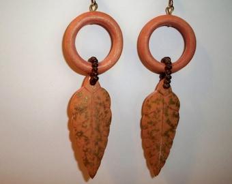 Wood Leaf Earrings, Vintage Circle and Leaf Earrings, Wood Feather Earrings, Wood Circle & Feather Earrings, Orange Leaf Dangle Earrings