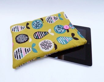 Multi colour cotton pear fabric padded iPad sleeve