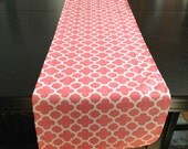 Designer Fabric Kitchen Dining Table Runner-Coral WhiteTable Runner-Table Runner-Quatrefoil -Runner-Ready to Ship