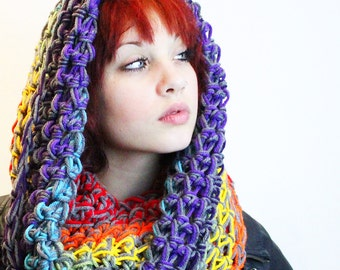 Peace Rainbow Rasta Love Cowl Hood Vegan scarf Grey