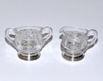 Vintage Sheffield Sterling Silver and Etched Glass Creamer & Sugar Bowls, circa 1920s – 1930s