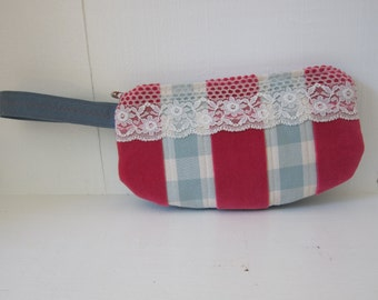 Wristlet by Tiny Marie Pink Velvet Baby Blue Lace