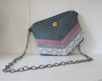 Chain Shoulder Bag Purse by Tiny Marie Blue Pink Lace Gold Leather