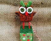 Small brown and green Folk Art Sculpture Ready to ship