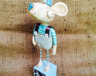 Mr. Mouse Folk Art Sculpture in white grey and blue Ready to ship