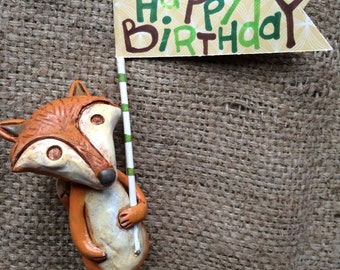 Woodland Fox cake topper with your choice of number or banner for birthday party or special occasion