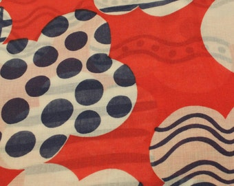 Polyester Gauze Vintage 1970s Red White Blue Vintage  - 2 3/4 Yards - Fabric Yardage /Woven Fabric /Cotton Fabric /1970s Fabric /70s