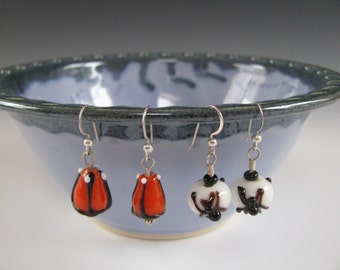 Halloween Earrings Orange Pumpkins Black Spiders