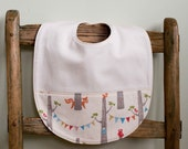 Organic Toddler Bib in WOODLAND PARTY, Woodland Fox, Owl, and Bunting, Organic Cotton Feeding Bib by Organic Quilt Company