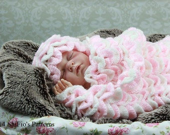 CROCHET PATTERN For Crocodile Stitch Cocoon, Papoose & Hat in 2 Sizes PDF 183 Digital Download
