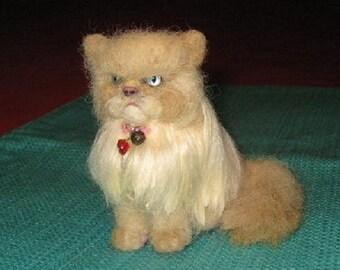 Custom Cat Portrait Sculpture / example Himalayan cat Needle Felted by Fiber Artist GERRY