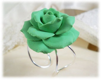 Large Green Rose Ring - Green Rose Jewelry, Green Flower Ring