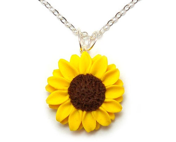 Sunflower Jewelry Necklace Yellow Sunflower By