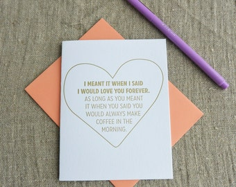 Letterpress Greeting Card - Love Card - Love you Forever Morning Coffee