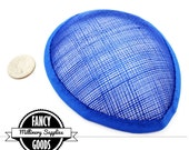 1 - Royal Blue - Teardrop Hat Base - Sinamay Straw - Fascinator - Hat Foundation - Millinery