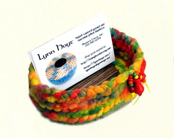 Funky Multicolored Business Card Holder Bright Coiled Basket Fun Neon Rainbow Red Orange Yellow Cute Office Gift Craft Show Holder OOAK