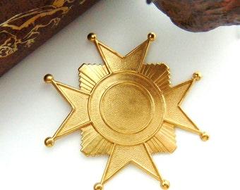 BRASS * Cross Art Deco Star Stamping ~ Jewelry Findings ~ Brass Stamping (FB-6094)