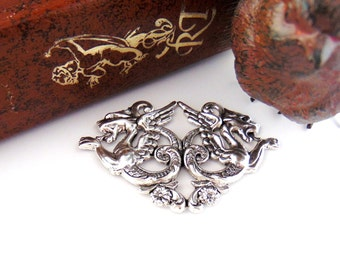 SILVER Double Medieval DRAGONS Stamping - Jewelry Antique Silver Findings (C-1201) #