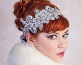 Ice Queen Rhinestone Headband Matte Silver Great Gatsby Flapper